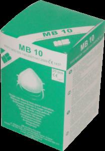 Zdjęcie półmasek przeciwpyłowych MB10 w opakowaniu tekturowym