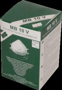 Zdjęcie półmasek przeciwpyłowych MB10V w opakowaniu tekturowym