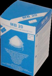 Zdjęcie półmasek przeciwpyłowych MB20 w opakowaniu tekturowym