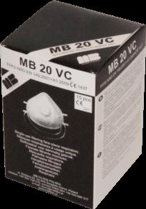 Zdjęcie półmasek przeciwpyłowych MB20VC w opakowaniu tekturowym