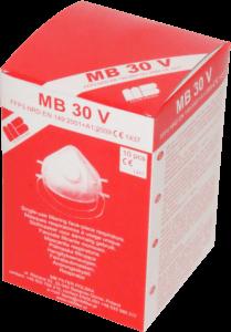 Zdjęcie półmasek przeciwpyłowych MB30V w opakowaniu tekturowym