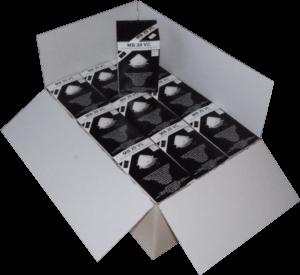 Zdjęcie półmasek przeciwpyłowych MB20VC w opakowaniu tekturowym - karton zbiorczy