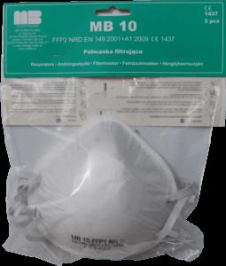 Zdjęcie półmasek przeciwpyłowych MB10 w opakowaniu foliowym z zawieszką