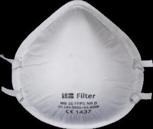 Zdjęcie półmaski przeciwpyłowej (ochronnej, filtrującej) P1 - MB 10 FFP1 - przód