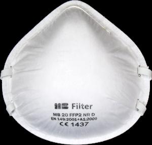 Zdjęcie półmaski przeciwpyłowej (ochronnej, filtrującej) P2 - MB 20 FFP2 - przód